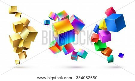 Abstract Cubes Compositions. Golden Geometric Shapes, Colorful Cubic 3d Composition And Bright Color