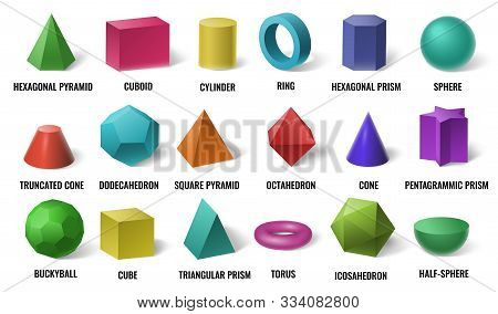 Realistic 3d Color Basic Shapes. Solid Colored Geometric Forms, Cylinder And Colorful Cube Shape. Ma