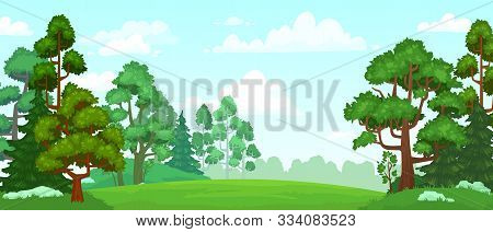 Cartoon Forest Glade. Green Grassland, Natural Thriving Forest Field Landscape And Summer Sky With C