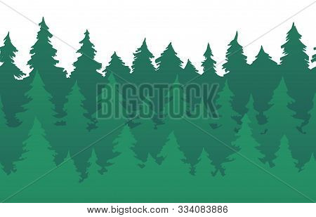 Forest Fir Trees Seamless Pattern. Pine Silhouette, Nature Forests And Green Tree Silhouettes. New 2