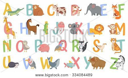 Cartoon Animals Alphabet For Kids. Learn Letters With Funny Animal, Zoo Abc And English Alphabet For