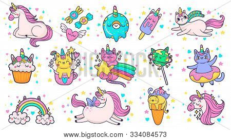 Cute Hand Drawn Patches. Magic Fairytale Pony Unicorn, Fabulous Cat And Sweet Candy Stickers. Ice Cr