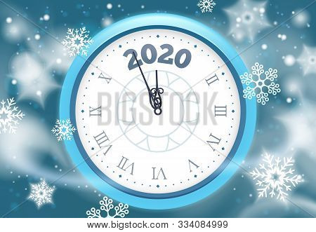 New 2020 Year Snow Poster. Winter Holidays Countdown Clock With Snowflakes, Vintage Clocks Arrows An