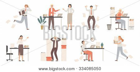 Stressed Business People. Busy Office Workers, Angry Boss In Panic And Work Chaos. Failure Deadline