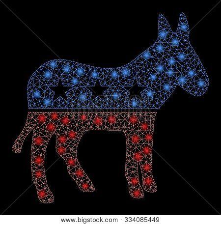 Glowing Mesh Democratic Donkey With Glare Effect. Abstract Illuminated Model Of Democratic Donkey Ic
