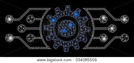 Flare Mesh Digital Cog With Sparkle Effect. Abstract Illuminated Model Of Digital Cog Icon. Shiny Wi