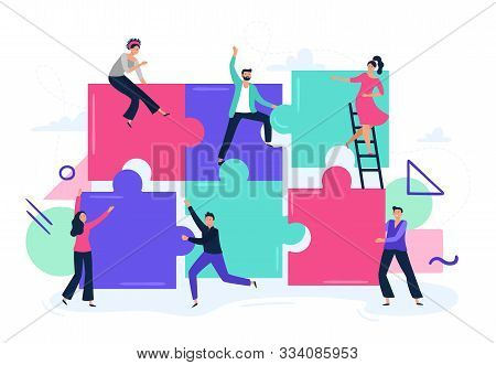 Puzzle Teamwork. People Work Together And Connect Puzzle Pieces, Business Office Workers Team Cooper