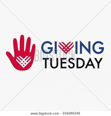 Giving Tuesday, Global Day Of Charitable Giving. Helping Hand With Heart Shape. Charity Campaign Ban