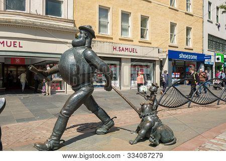 Dundee, Scotland, - June, 26, 2019: The Desperate Dan Statue In City Square, Dundee, Scotland.