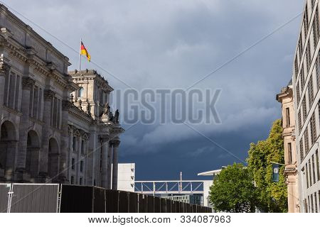 Berlin, Germany- September 28, 2019: Reichstag Building, The Most Visited Parliament In The World, H