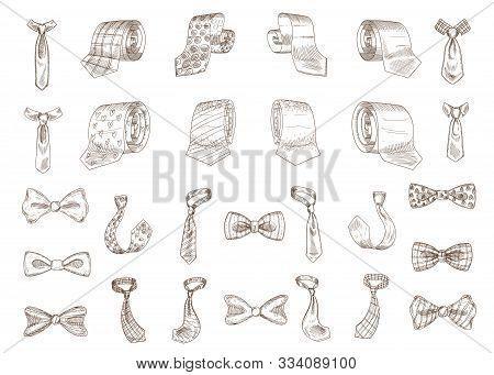 Stylish Monochrome Neckwear Items Hand Drawn Illustrations Set