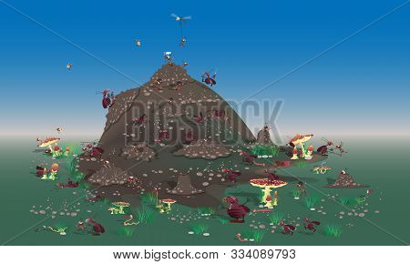 Hordes Of Cockroaches Attack The Anthill. Large-scale Battle Of Insects. Vector Version In Cartoon C