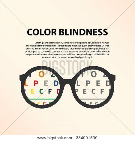 Lettering Vector Illustration Of A Word Color Blindness With Glasses. Colorful Dots Of Ishihara Dalt