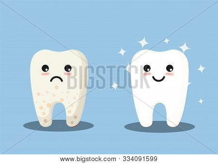 Cleaning And Whitening Teeth Concept Vector Illustration. Snow-white Happy Tooth And Yellow Moody To