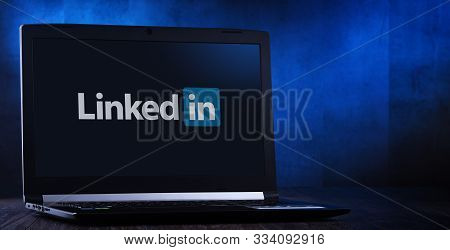 Laptop Computer Displaying Logo Of Linkedin