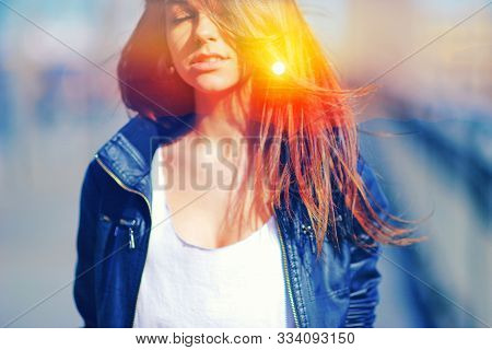 Double Multiply Exposure Portrait Of A Dreamy Cute Woman Meditating Outdoors With Eyes Closed, Combi