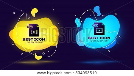 Black Mp4 File Document. Download Mp4 Button Icon Isolated On Dark Blue Background. Mp4 File Symbol.