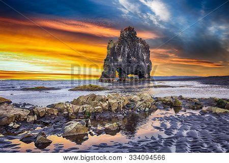 Dramatic Sunset View Of Hvitserkur Unique Basalt Rock In Iceland. Location: Place Hvitserkur, Vatnsn