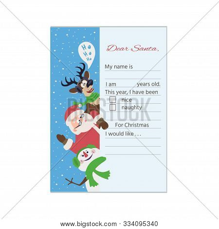 Merry Christmas Wish List To Santa Clause. Christmas Letter Template With Santa Claus, Deer, Snowman