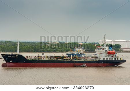 Long Tau River, Vietnam - March 12, 2019: Closeup Of Black, Red And White Thalexim Oil Tanker Anchor