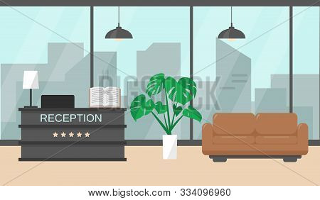 Modern Hotel Reception Interior With Window, Furniture And Plant On The Floor. Vector Illustration.