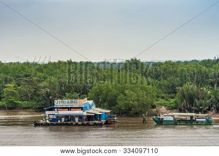 Ho Chi Minh City Vietnam - March 12, 2019: Petrolimex Gas Station For River Boats With Colorful Bann