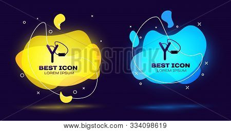 Black Slingshot Icon Isolated On Dark Blue Background. Set Abstract Banner With Liquid Shapes. Vecto