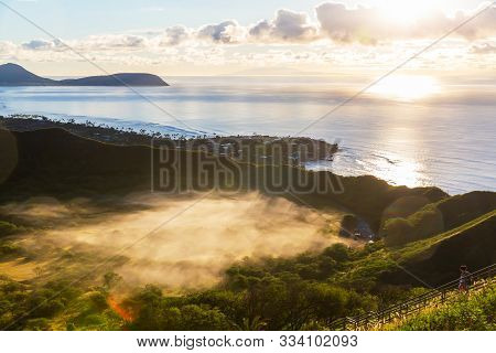 Sunrise View Of The Crater Of Diamond Head, Oahu, Hawaii