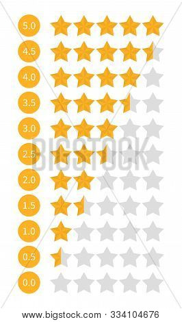 Star Rating Set Vector Isolated. Golden Star Shape. Quality Of Service Measurement. Ranking System,