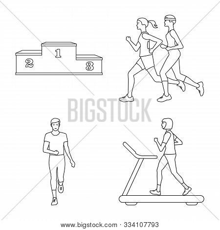 Isolated Object Of Exercise And Sprinter Symbol. Set Of Exercise And Marathon Stock Vector Illustrat