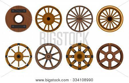 Wooden Wheel Vector Cartoon Set Icon.vector Illustration Cart Of Wheel. Isolated Cartoon Icon Cartwh