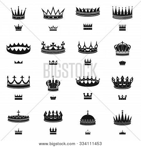 Isolated Object Of King And Majestic Logo. Set Of King And Gold Stock Vector Illustration.