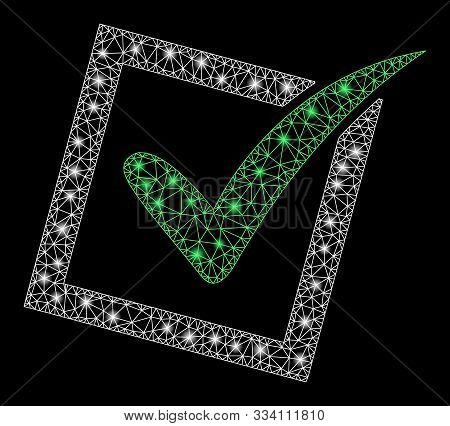 Flare Mesh Yes Poll With Glare Effect. Abstract Illuminated Model Of Yes Poll Icon. Shiny Wire Carca