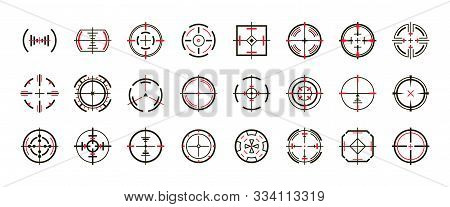 Sniper Sight Vector Black Set Icon. Vector Illustration Sight And Target. Isolated Black Icon Eye Ta