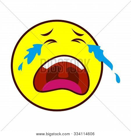 Loudly Crying Face Emoticon Flat Icon, Vector Sign, Crying Face Emoji Colorful Pictogram Isolated On