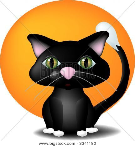 a cute little black cat sitting in front of a large full moon. poster