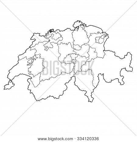 Flag And Territory Of Basel-stadt Canton On Map Of Administrative Divisions Of Switzerland