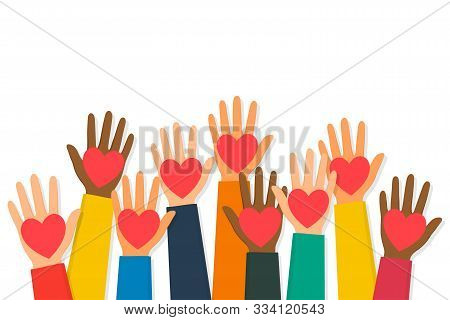 Charity, Volunteering And Donating Concept. Raised Up Human Hands With Red Hearts. Children's Hands