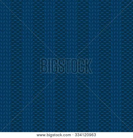 Seamless Rib Knit Blue Pattern. Handicraft Backgroung