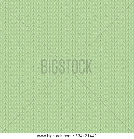 Seamless Knitted Light Green Pattern. Christmas Backgroung