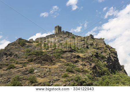 Ruins Of The Saint-germain Castle In Montjovet, Aosta Valley, Italy