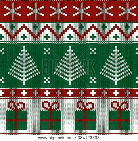 Seamless Knitted Red, Green And White Pattern With Fir Tree And Gifts. Christmas Backgroung