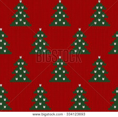 Seamless Knitted Red Pattern With Christmas Tree. Christmas Backgroung