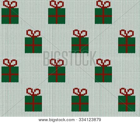Seamless Knitted Green Gift Boxes Pattern. Christmas Backgroung