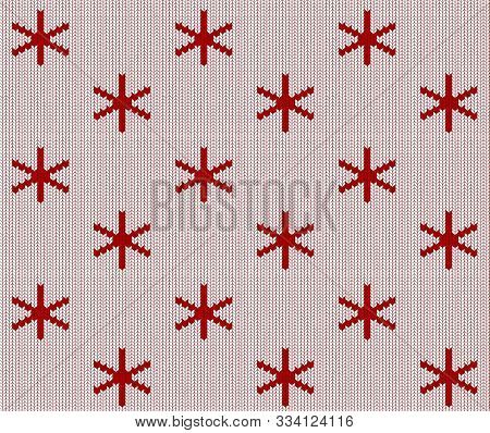 Seamless Knitted White Pattern With Red Snowflakes. Christmas Backgroung