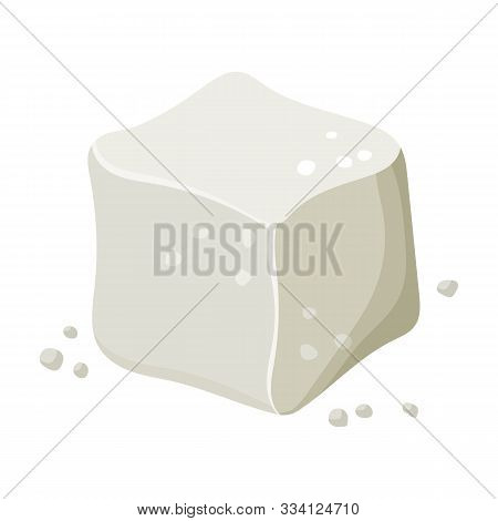 Cube Of Sugar Vector Icon.cartoon Vector Icon Isolated On White Background Cube Of Sugar.