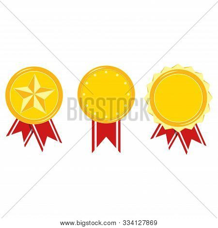 Golden Medals With Stripped Red Ribbon Set Isolated On White Background. Champion Different Design I