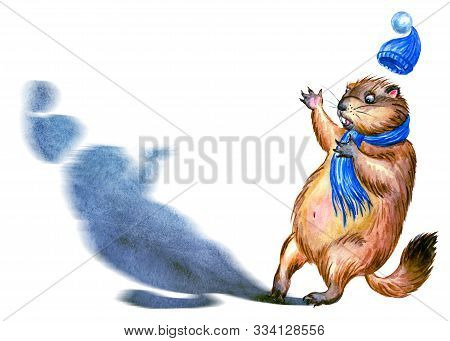 Groundhog And Shadow, Watercolor Illustration On A White Background, Isolated. Postcard To The Groun