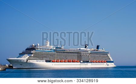 Malaga, Spain - June 25, 2018. Celebrity Reflection Cruise Ship Owned And Operated By Celebrity Crui