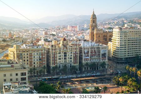 Malaga, Spain - June 29, 2018. Panoramic View Of The Malaga City, Cathedral Of The Incarnation And M